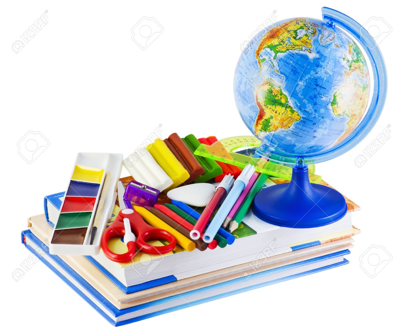 11098081-Globe-textbooks-and-other-school-supplies-Stock-Photo